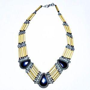 Boho Porcupine tear drop native necklace